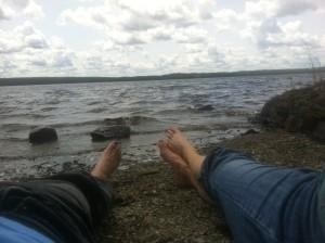 Enjoying summer on a beach in Canada.